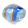Glass Lamp Bead 18x13mm Oval Blue/Gold